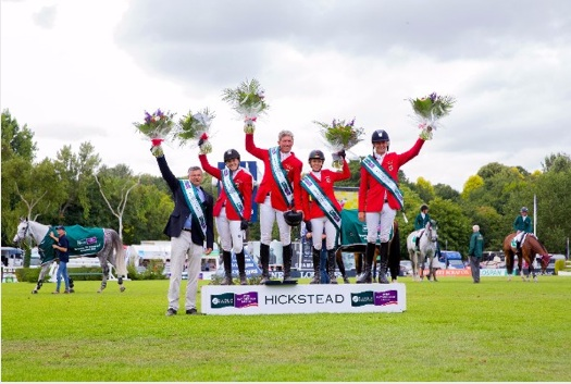 The winning German team in the Furusiyya FEI Nations Cup of Great Britain, presented by Longines. Photo Courtesy of Craig Payne Photography