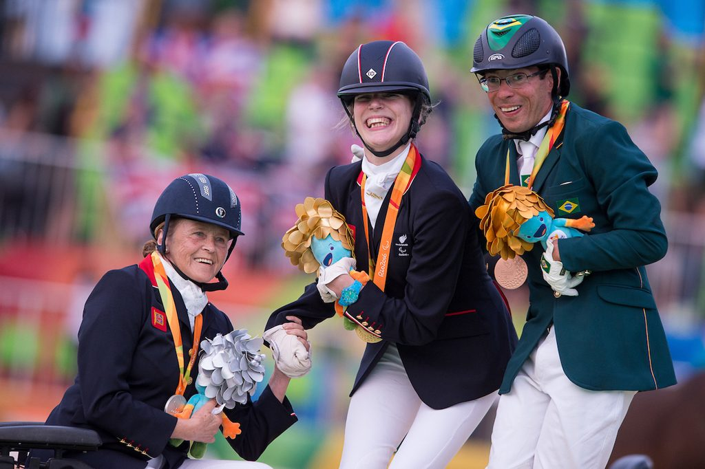 Anne Dunham (GBR, Silver), Sophie Christiansen (GBR, Gold) and Sergio Oliva (BRA, Bronze) - Individual Championship Test Grade Ia Victory Ceremony – Rio 2016 Paralympic Games – Rio de Janeiro, Brazil – 15 September 2016