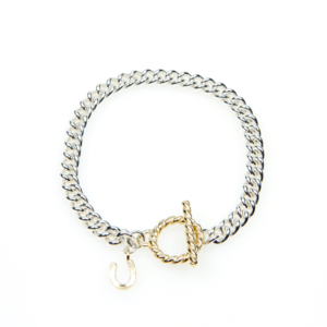 Equestrian Jewellery 9ct Gold T-bar Clasp Sterling Silver Bracelet